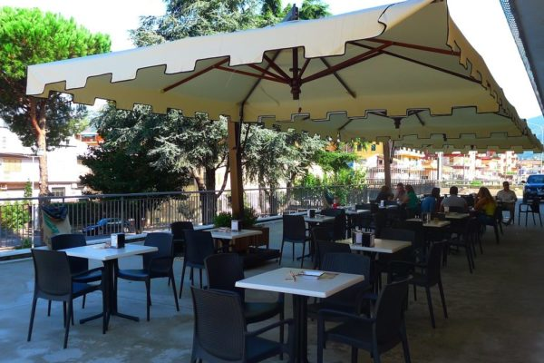 Double Offset Patio Umbrella with castle valance