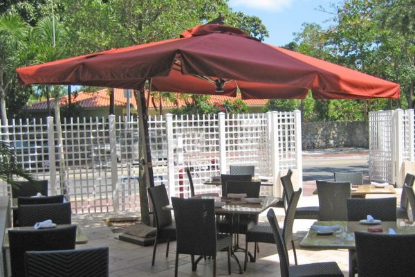 Vulcano LX offset Umbrella outdoor restaurant
